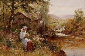 Ernest Walbourn: Eine junge Frau beim Plücken von Frühlingsblumen