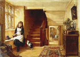 Robert Collinson: Mit Katzen spielendes Mädchen