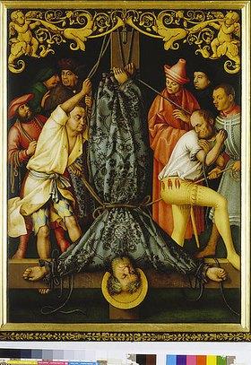 Hans Holbein d.Ä.: Katharinenaltar, li.Flügel (außen?): Martyrium des hl.Petrus. 1512. Fichten