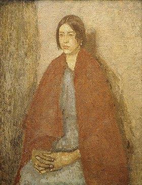 Gwen John: Junge Frau mit einem roten Schal. Zwischen 1910 und Anfang der 1920er Jahre