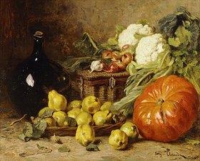 Eugène Claude: Stillleben mit Birnen, Zwiebeln, Blumenkohl und einem Kürbis