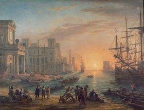 Claude Lorrain (Gellée): Seehafen bei untergehender Sonne