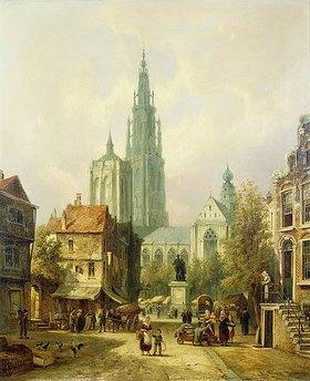 Pieter Cornelis Dommershuijzen: Eine Ansicht von Antwerpen