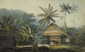 John Webber: Hütte und Palmen auf der Insel Krakatoa