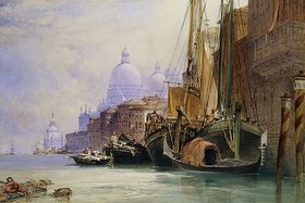 William Callow: Santa Maria della Salute und der Canal Grande, Venedig