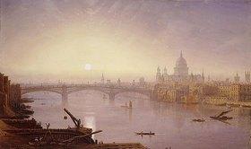 George Fennel Robson: Southwark Bridge und die St. Paul's Kathedrale im Abendlicht