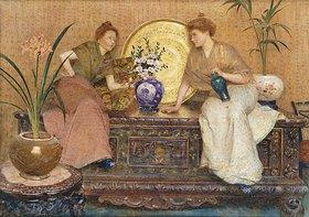 Hector Caffieri: Zwei Damen auf einer Truhe sitzend