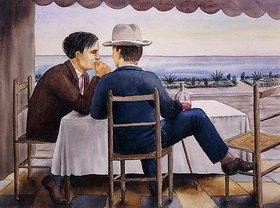 Georg Schrimpf: Auf der Terrasse (Selbstbildnis)