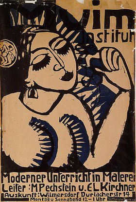 Ernst Ludwig Kirchner: Plakat des Muim Instituts (Moderner Unterricht im Malen)