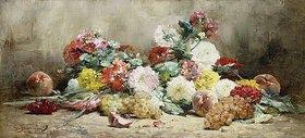 Georges Jeannin: Nelken, Rosen, Trauben und Pfirsiche