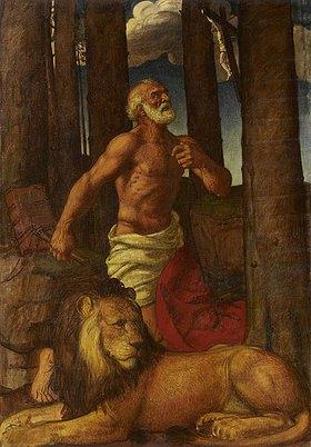 Karl Friedrich (Fritz) Boehle: Der büßende heilige Hieronymus mit dem Löwen