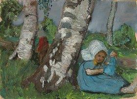 Paula Modersohn-Becker: Kind mit Puppe am Birkenstamm sitzend