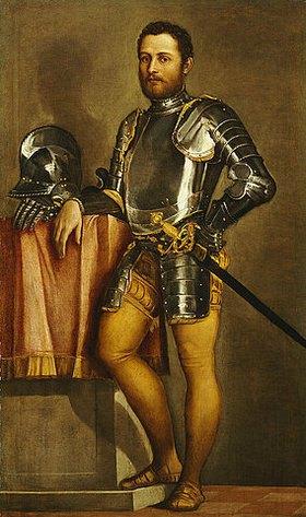 Paolo (Paolo Caliari) Veronese: Portrait eines Herrn in Rüstung, mit Schwert und Helm