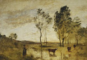 Jean-Baptiste Camille Corot: Die Furt, Kühe an einer Furt