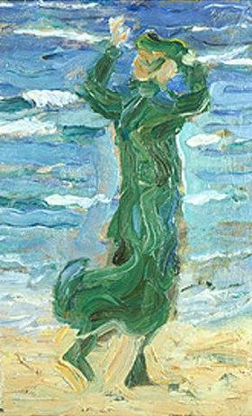 Franz Marc: Frau im Wind am Meer