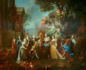 Joseph Vivien: Allegorie auf die Wiedervereinigung des Kurfürsten Max Emanuel mit seiner Familie