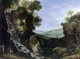Paul Bril: Landschaft mit Wasserfall und dem Vestatempel von Tivoli