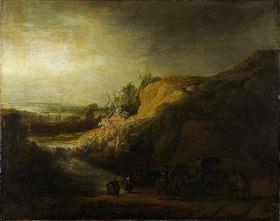 Rembrandt van Rijn: Landschaft mit der Taufe des Kämmerers