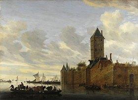 Salomon van Ruysdael: Flussmündung mit befestigter Stadt