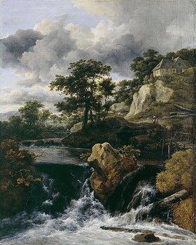 Jacob Isaacksz van Ruisdael: Hügellandschaft mit Wasserfall