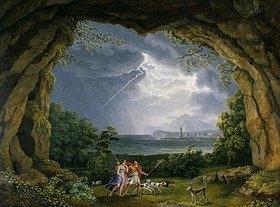Jacob Philipp Hackert: Aeneas und Dido flüchten vor dem Unwetter in eine Grotte