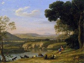 Claude Lorrain (Gellée): Flusslandschaft mit Ziegenhirt. 1640er Jahre