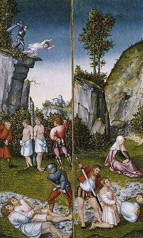 Lucas Cranach d.Ä.: Die Marter der sieben Söhne der hl. Felicitas (Zwei Flügel eines Altarretabels)