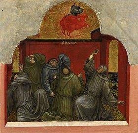 Taddeo di Bartolo: Sechs Darstellungen aus dem Leben des hl. Franz von Assisi: Franziskus erscheint seinen Anhängern im feurigen Wagen