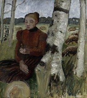 Paula Modersohn-Becker: Mädchen am Birkenstamm ruhend, Schafherde im Hintergrund