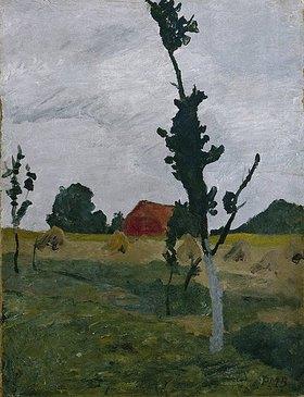 Paula Modersohn-Becker: Worpsweder Landschaft mit rotem Haus