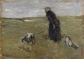 Max Liebermann: Alte Frau mit Ziegen (Studie). Gegen