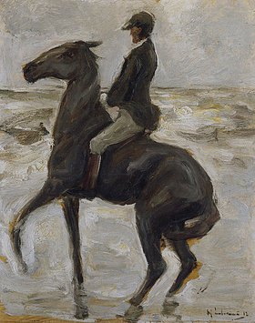 Max Liebermann: Reiter, nach links, am Strand