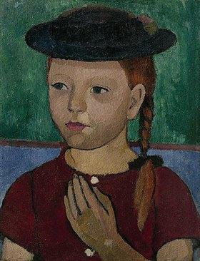 Paula Modersohn-Becker: Brustbild eines Mädchens mit braunem Kleid und schwarzem Hut
