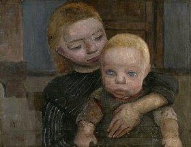 Paula Modersohn-Becker: Halbfigur eines Mädchens, den Arm um ein Kind gelegt