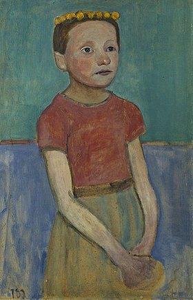 Paula Modersohn-Becker: Halbfigur eines Mädchens mit gelbem Kranz im Haar