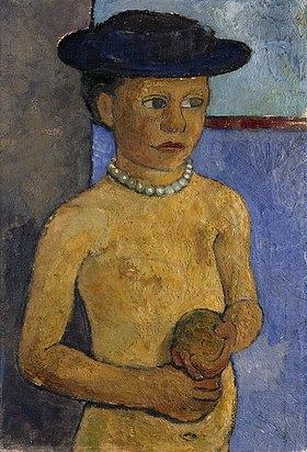 Paula Modersohn-Becker: Halbakt eines Mädchens mit schwarzem Hut