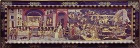 Apollonio di Giovanni: Das Gastmahl und die Jagd der Dido. (Vorderwand einer Hochzeitstruhe)