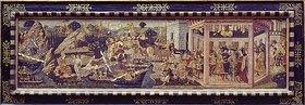Apollonio di Giovanni: Die Ankunft des Aeneas bei Dido. (Vorderwand einer Hochzeitstruhe)