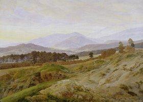 Caspar David Friedrich: Riesengebirgslandschaft (Gebirgslandschaft in Böhmen). Um 1835, unvollendet