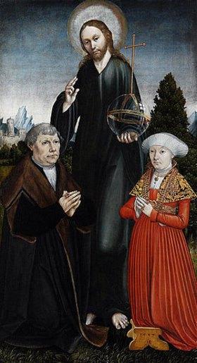 Hans Johann Kemmer: Christus als Salvator Mundi zwischen zwei knienden Stiftern