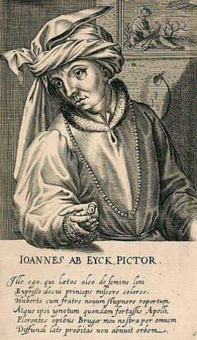 Hendrik Hondius: Jan van Eyck. Aus: Pictorum aliquot celebrium praecipuae germaniae inferioris effigies, hg. von H. Hondius, Den Haag
