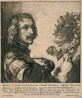Wenzel Hollar: Selbstbildnis Anthonis van Dyck mit Sonnenblume (nach dem Gemälde von 1632, London, National Gallery)