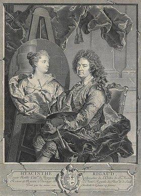 Jean Daullé: Hyacinthe Rigaud malt ein Portrait seiner Frau