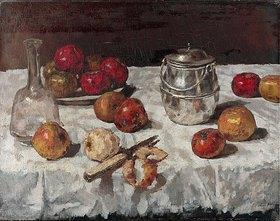 Carl Schuch: Stillleben mit Äpfeln und Keksdose