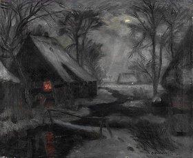 Otto Modersohn: Winterabend in Fischerhude