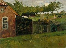 Otto Modersohn: Rotes Haus mit Ställen