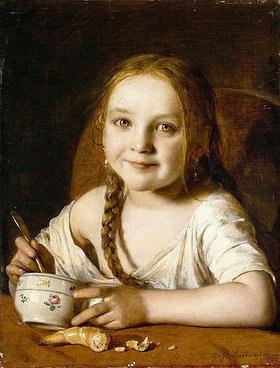 Johann Baptist Reiter: Mädchen am Frühstückstisch