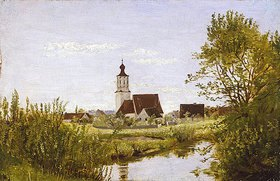 Franz von Lenbach: Landschaft mit Kirche