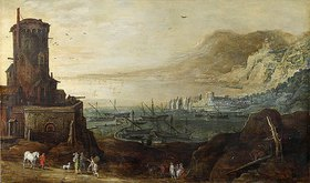 Jan Brueghel d.Ä.: Hafenlandschaft mit Befestigungsturm