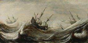 Pieter Mulier: Schiffe in stürmischer See